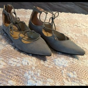 Express lace-up gray suede flats. Size 6.